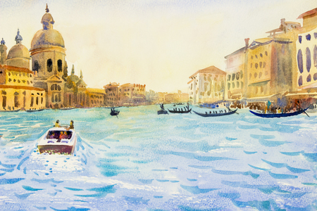 Grand Canal in Venice, Italy. Santa Maria della Salute church. Motor boats are the main transport in Venice with gondoliers. Watercolor landscape original painting illustration landmark of the world. Фото со стока