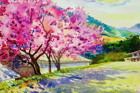 Pink red color of Wild himalayan cherry, roadside in the morning with mountain sky, cloud background, Hand painted, beauty nature winter season in Thailand. Painting watercolor landscape