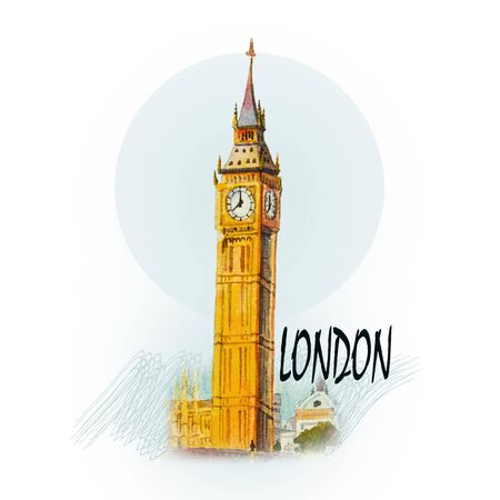 Modern art, Watercolor painting illustration. World famous landmark series: Big Ben Clock Tower in London at England.
