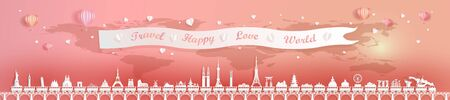 Travel landmarks of world with world map background, Landmark capital travel by train and balloon for valentine poster and postcard, Travel world panorama by origami paper style, Vector illustration.