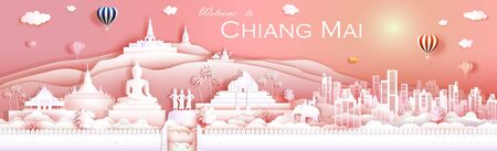 Travel landmark culture Chiangmai Thailand with temple, downtown, cityscape and Asia tourism, Traveling landmarks Doi Suthep, Doi Inthanon and by balloon, Tour panorama view sunrise, Vector illustration.