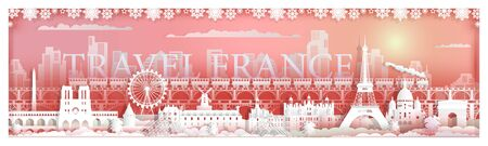 Travel landmarks famous France with city background, Travel by train around paris with panoramic cityscape popular capital, Origami paper cut style for travel landmark poster and postcard, Vector style