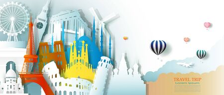 Travel business landmarks tourism Europe architecture by balloon, Tour culture landmark world with panorama view, Popular capital, Origami paper cut for business travel postcard, Vector illustration.