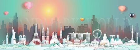 Travel attraction landmark world with landscape city, Tour popular downtown architecture world by balloon, Famous monument country, Paper cut origami colorful sunrise in skyline downtown background.