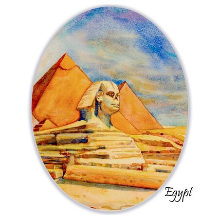 Hand drawn watercolor painting landscape on paper.  The Great pyramid with desert in Giza and the Sphinx in Egypt.  Illustration art, sky and cloud on white background, Travel landmark of the world. 스톡 콘텐츠