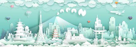 Viaje a Japón con monumentos de vista panorámica de la ciudad y el turismo de la cultura de la arquitectura asiática, hito itinerante en Asia con estilo de origami de corte de papel para carteles de viaje y postales, ilustración vectorial