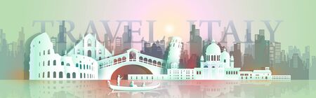 Travel Europe architecture famous landmarks italy by gondola boat, Tourism around the world to venice, colosseum, With origami paper cut style for landmark poster and postcard, Vector illustration Archivio Fotografico - 132752782