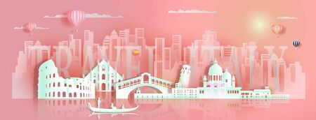 Tour italy famous landmarks architecture Europe by gondola,tourist, Travel cityscape architecture skyscraper downtown background to rome, venice with paper art for poster, postcard, Vector illustration. Archivio Fotografico - 132752790