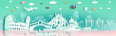 Tour italy famous landmarks Europe downtown by gondola, balloon, plane, Travel cityscape architecture downtown to rome, venice  with origami paper cut for landmark poster and postcard, Vector illustration
