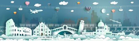 Travel italy famous landmarks Europe downtown by gondola, balloon, train, Travel cityscape ancient architecture to rome, venice  with origami paper cut for landmark poster and postcard, Vector illustration Archivio Fotografico - 132752847