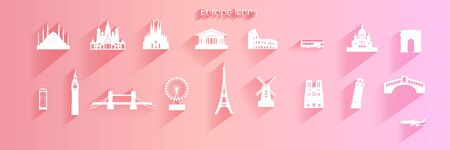 Travel Icon set of europe architecture symbol on pink background with long shadow,  Travel Europe landmarks with icon and symbol collection, Paper cut origami and paper art, Vector logo illustration.