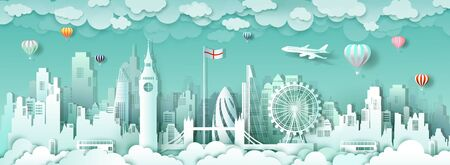 Travel london england famous landmarks Europe downtown by balloon and airplane,Travel city architecture downtown to london with origami paper cut for landmark poster and postcard, Vector illustration.