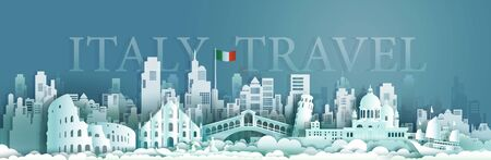 Travel italy Europe architecture famous landmarks by gondola and sailboat, Tourism venice popular landmark italy and flag Italy, Origami paper cut style for poster and postcard, Vector illustration. Archivio Fotografico - 132752322