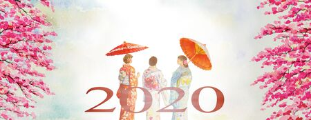 Travel in spring colorful of Japan - Famous landmarks of the Asian. Woman wearing japanese traditional kimono with umbrella. Watercolor painting illustration in sky background, New year card 2020.