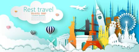 Travel business landmarks tourism world famous architecture by balloon, Tour culture landmark world with panorama view, Popular capital, Origami  paper cut for travel postcard, Vector illustration. Vettoriali