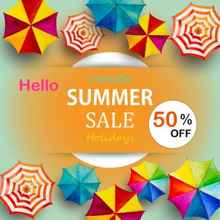 Panneau publicitaire pour la vente d'été, parapluie multicolore vue de dessus coloré, mer d'affaires de vacances et de tourisme, station balnéaire, marché, texture, arrière-plan, illustration vectorielle de peinture à l'aquarelle.