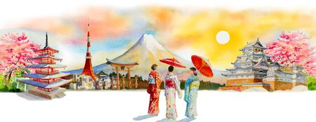 Travel Japan famous landmarks of the Asian. Woman wearing japanese traditional kimono with umbrella. Watercolor painting illustration in sun skyline space background, popular tourist attraction.