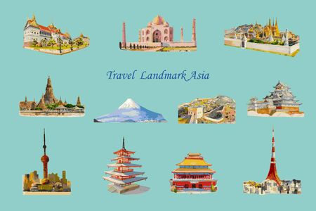 Travel popular landmark architecture Asia, Tour famous landmarks world monument, Watercolor hand drawn painting illustration on blue background, Hand-drawn sketches isolated style, Vector illustration