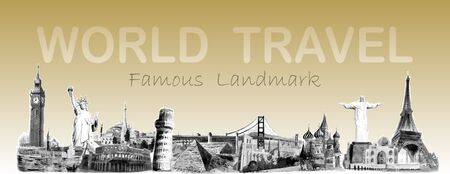 Travel around the world famous landmarks of the world. Travel to america, europe, asia, skyline.  Watercolor painting illustration vector style, Landmark black and white on sepia colorful background.