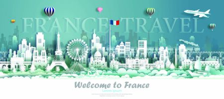 France architecture travel with sailboat and gondora, Landmarks of paris in French country, Tour cityscape with panorama view and French flag, Origami paper cut style for travel poster and postcard.