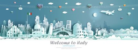 Vector illustration tour Italy architecture famous landmarks of europe, Travel skyline downtown culture with Italy flag and modern building, Travelling by balloon, sailboat, plane and cable car.