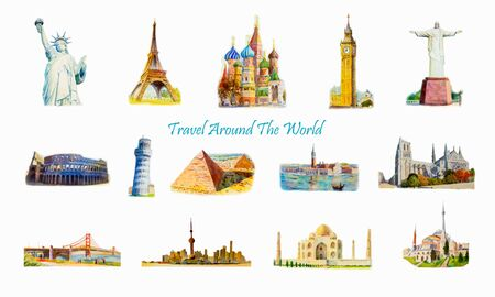 World travel and sights. Famous landmarks of the world grouped together. Watercolor hand drawn painting illustration on white background. Vektoros illusztráció