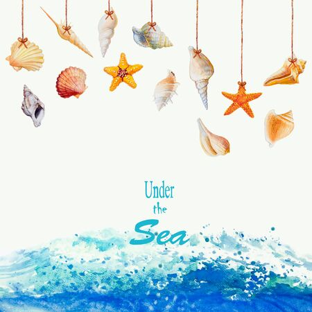 Summer sea shells collection design and wave ocean on white background. Watercolor painting colorful underwater life, Illustration art drawing isolated for printing and romantic postcard style.