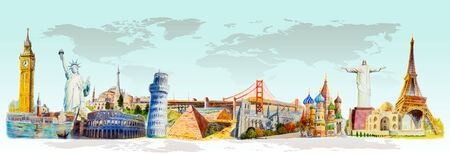 Travel landmark architecture world. Famous landmarks of the world monument. Watercolor hand drawn painting illustration on white background. Hand-drawn sketches, Isolated style