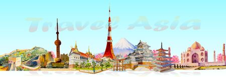 Travel landmark architecture Asia. Famous landmarks of the world monument. Watercolor hand drawn painting illustration on white background. 일러스트