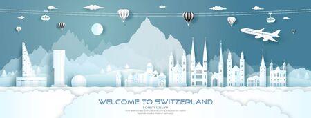 Panorama de viaje a la arquitectura de palacio y castillo de fama mundial superior de Suiza. Tour zurich, ginebra, lucerna, interlaken, símbolo de europa con corte de papel. Diseño de folletos comerciales para publicidad. Ilustración de vector