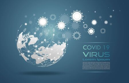 Communications about epidemic spread around the world. Technology wireless network globe communications system for Covid 19 virus, cell infect organism, Vector 3d illustration abstract viral disease. Ilustración de vector