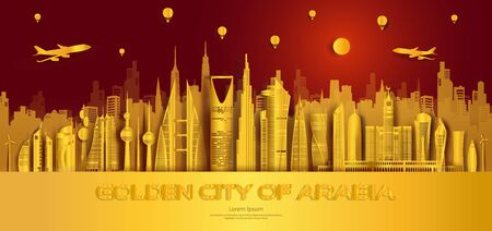 Travel golden city landmarks middle east architectural monuments of the world, Tourism with panoramic landscape paper art golden style for travel poster, postcard, wallpaper, Vector illustration. 向量圖像