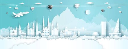 Travel panorama to switzerland top world famous palace and castle architecture. Tour zurich, geneva, lucerne, interlaken, landmark of europe with paper cut. Business brochure design for advertising. Illustration