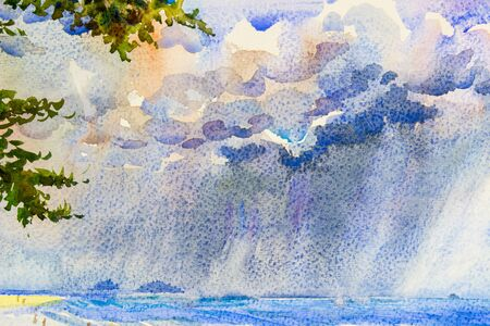 Watercolor seascape original painting colorful of rain clouds in the sea and family holidays and emotion in enjoy relax Archivio Fotografico
