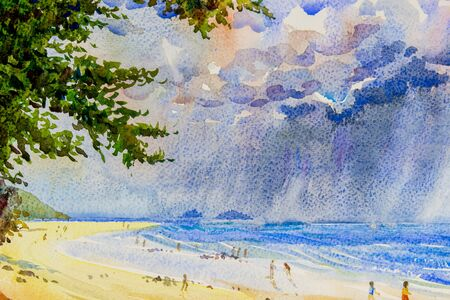 Watercolor seascape original painting colorful of rain clouds in the sea and family holidays and emotion in enjoy relax