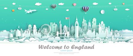 Travel london england famous landmarks Europe downtown country of island,Tour city architecture downtown to london with origami paper cut cute for travel business landmark england. Vector illustration