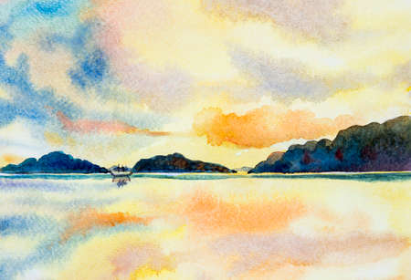 Watercolor painting seascape colorful sky of fishing boat and sunshine and cloud bottom background. Sunrise in early morning with summer season. Painted Impressionist, abstract image original.