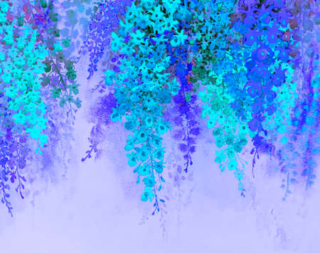 Abstract watercolor original painting colorful bunch of orchid flowers in blue and purple background.