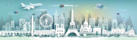 Travel to France famous landmarks of the world with cityscape background,Tourism panorama view to beauty culture, Vector illustration for presentation, Paper cut style for travel poster and postcard.