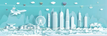 Travel Landmark downtown China Hong Kong with urban skyscraper background, Travelling cityscape skyline and architecture Asian at Hong Kong and modern building, Vector illustration panorama view.