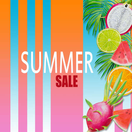 Summer sale, Paintings fruit with watermelon, dragon fruit and lemon. Hand drawn watercolor painting colorful illustration of poster wallpaper for fun party promotion banner in color line background. 写真素材