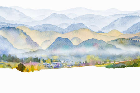 Watercolor landscape painting colorful of mountain meadow with decoration in the Panorama top view and emotion rural society, nature beauty whtie background. Hand painted semi abstract illustration. 写真素材