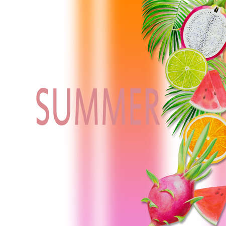 Summer holiday, Paintings fruit with watermelon, dragon fruit and lemon. Hand drawn watercolor painting colorful illustration of poster wallpaper for fun party promotion banner in colorful background. 写真素材