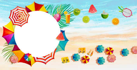 Painting watercolor banner frame, seascape top view colorful of lovers, family and fruit in vacation and tourism in summery, multi colored umbrella, sea wave blue background. Painted illustration.