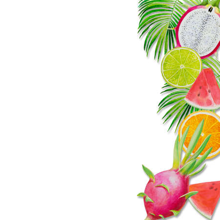 Summer holiday, Paintings fruit with watermelon, dragon fruit and lemon. Hand drawn watercolor painting colorful illustration of poster wallpaper for fun party promotion banner in white background. 写真素材