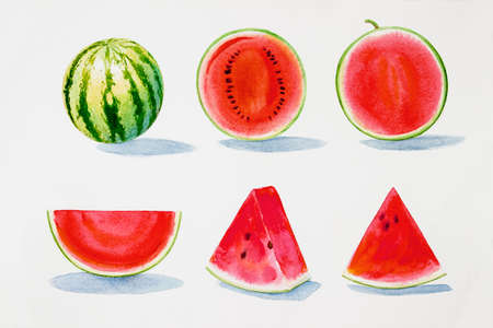 Painting summer watermelon collection, isolated. Original hand drawn watercolor painting, illustration on white background with poster wallpaper for fun party, promotion banner and brochures flyers.