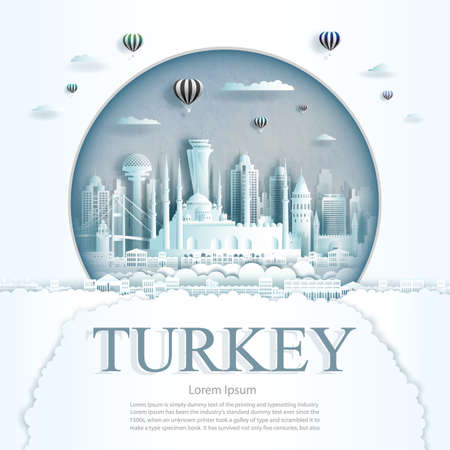 Travel Turkey monument with ancient and city modern building in circle background. Business tour for poster and postcard.Travel landmarks of europe ancient architecture cityscape. Vector illustration
