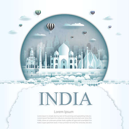 Travel India monument with ancient and city modern building in circle background. Business travel poster and postcard.Travel landmarks of asia ancient architecture cityscape. Vector illustration