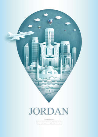 Travel landmarks Jordan monument pin of Asia modern and ancient of amman and petra in pin marker background. Travel poster and postcard of asia for business. Vector illustration pin point symbol.