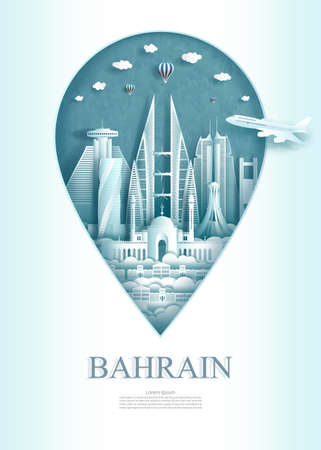 Pointer of Bahrain, Travel landmark Bahrain monument architecture modern and ancient of manama in pin marker background. Travel poster and postcard of asia. Vector illustration pin point symbol.